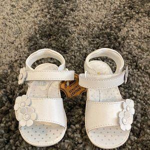Girls Angel White Leather Velcro Sandals